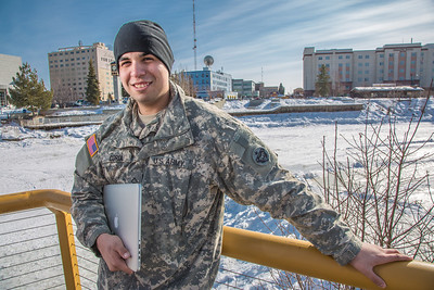 Soldiers like Abraham Coria can take classes through UAF's e-Learning programs while stationed at Fort Wainwright in Fairbanks.T  Filename: AAR-14-4130-9.jpg