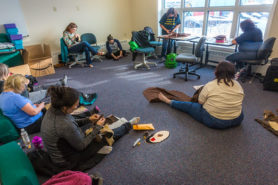 Community members learn how to make authentic beaver hats during an evening class at UAF's Chukchi Campus in Kotzebue.  Filename: AAR-16-4863-091.jpg