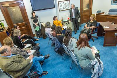 Students from UAF's Alaska Native Studies and Rural Development program meet with Representative Tammie Wilson during their weeklong seminar on Understanding the Legislative Process in the state capital of Juneau.  Filename: AAR-14-4053-189.jpg