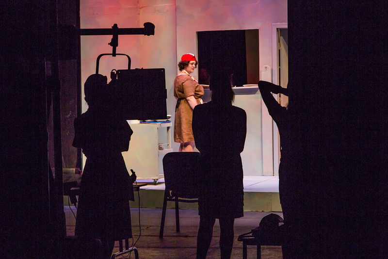 """Cast members rehearse a scene from Theatre UAF's  production of """"Nickel and Dimed"""" in the Salisbury Theatre.  <div class=""""ss-paypal-button"""">Filename: AAR-13-3974-1.jpg</div><div class=""""ss-paypal-button-end"""" style=""""""""></div>"""