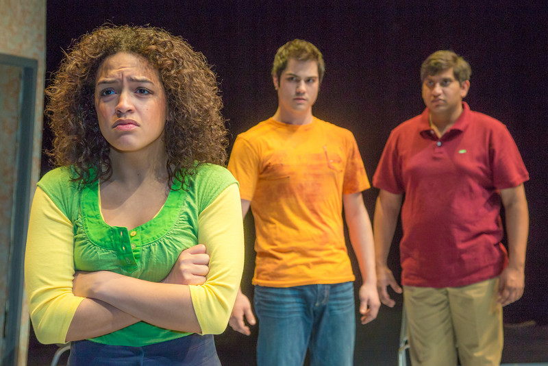 """Cast members Nicole Cowans, left, Thomas Petrie, center, and Sambit Misra rehearse a scene from Theatre UAF's production of """"Speech and Debate.""""  <div class=""""ss-paypal-button"""">Filename: AAR-13-3755-44.jpg</div><div class=""""ss-paypal-button-end"""" style=""""""""></div>"""