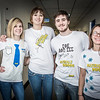 """School of Management students Christine Rosini, left, Olivia Bowen, Jack Hughes-Hageman, and Jessica Raymond pose in their inspiring t-shirts made for a class project.  <div class=""""ss-paypal-button"""">Filename: AAR-12-3671-57.jpg</div><div class=""""ss-paypal-button-end"""" style=""""""""></div>"""