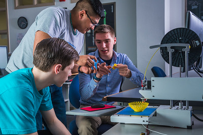 Students take advantage of the facilities in UAF's Community and Technical College's 3-D print lab in downtown Fairbanks.  Filename: AAR-16-4857-140.jpg