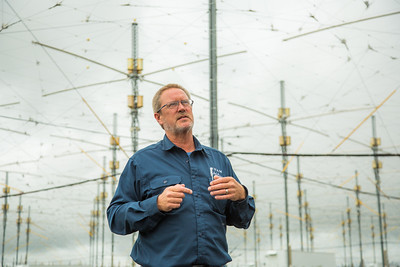Facility Manager Marty Karjala describes the processes underway at the High Frequency Active Auroral Research Program (HAARP) facility in Gakona before its official transfer of ownership from the U.S. military to UAF's Geophysical Institute.  Filename: AAR-15-4600-215.jpg