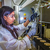 "Graduate student Shruti Oza sets up apparatus for a procedure in UAF's Petroleum Development Lab in the Duckering Building.  <div class=""ss-paypal-button"">Filename: AAR-13-3918-163.jpg</div><div class=""ss-paypal-button-end"" style=""""></div>"