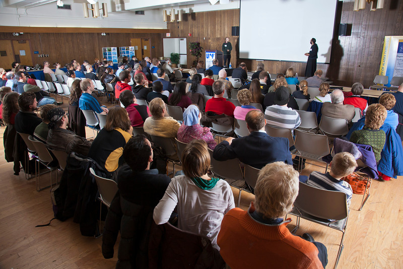 """For the final competition of the Arctic Innovation Competition the Wood Center Ballroom was standing room only.  <div class=""""ss-paypal-button"""">Filename: AAR-11-3201-350.jpg</div><div class=""""ss-paypal-button-end"""" style=""""""""></div>"""