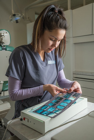 Dental assisting student Vanessa Mountain works with a set of radiograph x-rays at the CTC's facility on Barnette Street in downtown Fairbanks.  Filename: AAR-16-4873-010.jpg