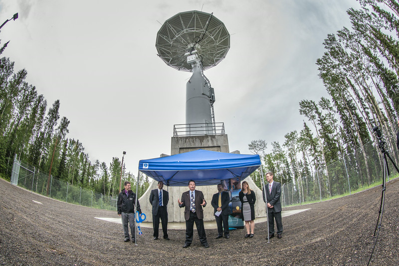 """Chancellor Rogers, along with Nettie La Belle-Hamer and officials with NASA and the Goddard Space Flight Training Center, celebrated the grand opening of the Alaska Satellite Facility's new 11-meter antennae on UAF's West Ridge Thursday afternoon.  <div class=""""ss-paypal-button"""">Filename: AAR-14-4221-23.jpg</div><div class=""""ss-paypal-button-end""""></div>"""
