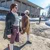 "Brian Tuohy, playing the title role in Theatre UAF's production of ""Tartuffe,"" (left) and Sambit Misra, playing Orgon, walk across campus before performing a live teaser in Wood Center a couple of days before opening night.  <div class=""ss-paypal-button"">Filename: AAR-14-4121-17.jpg</div><div class=""ss-paypal-button-end"" style=""""></div>"