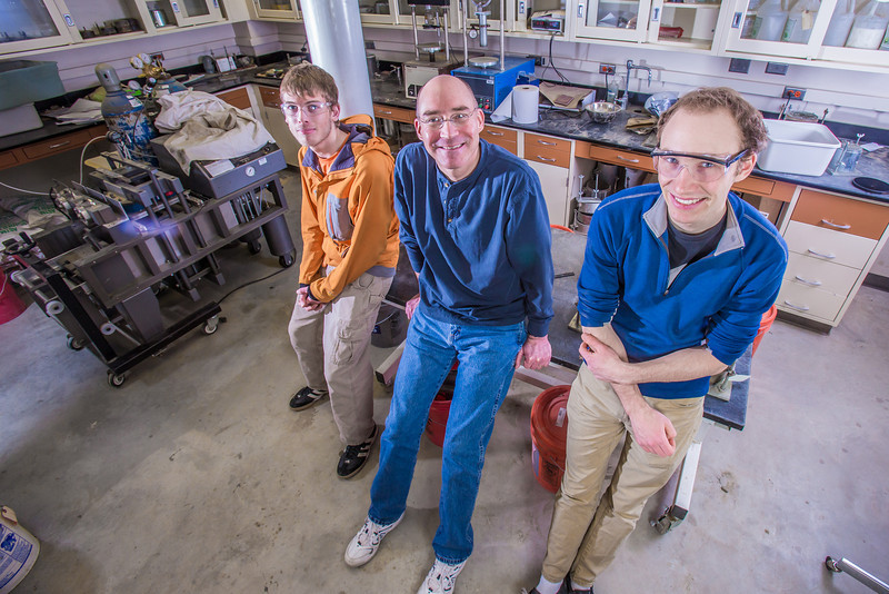 "UAF Engineering Professor David Barnes, center, poses with undergraduates Logan Little, left, and Cody Klingman in a Duckering Building lab.  <div class=""ss-paypal-button"">Filename: AAR-13-3812-90.jpg</div><div class=""ss-paypal-button-end"" style=""""></div>"