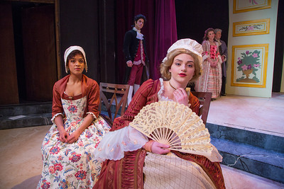 Cast members from Theatre UAF's spring 2014 production of Tartuffe display their costumes.  Filename: AAR-14-4134-151.jpg