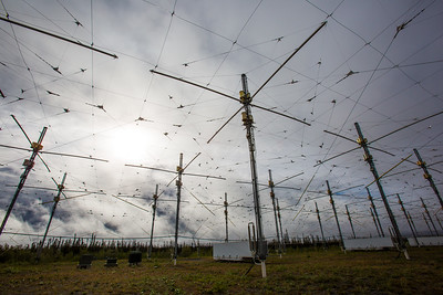 A look at part of the antenae array at the High Frequency Active Auroral Research Program (HAARP) facility in Gakona. The facility was built and operated by the U.S. military before its official transfer to UAF's Geophysical Institute in August 2015.  Filename: AAR-15-4600-050.jpg
