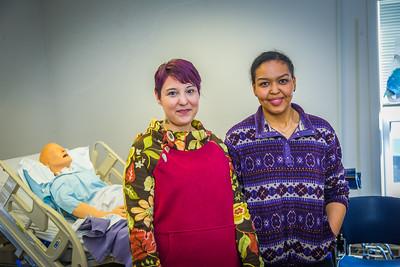 Katie Elanna, left, and Meranda Okoomealingok are both studying nursing at UAF's Northwest Campus in Nome.  Filename: AAR-16-4865-380.jpg