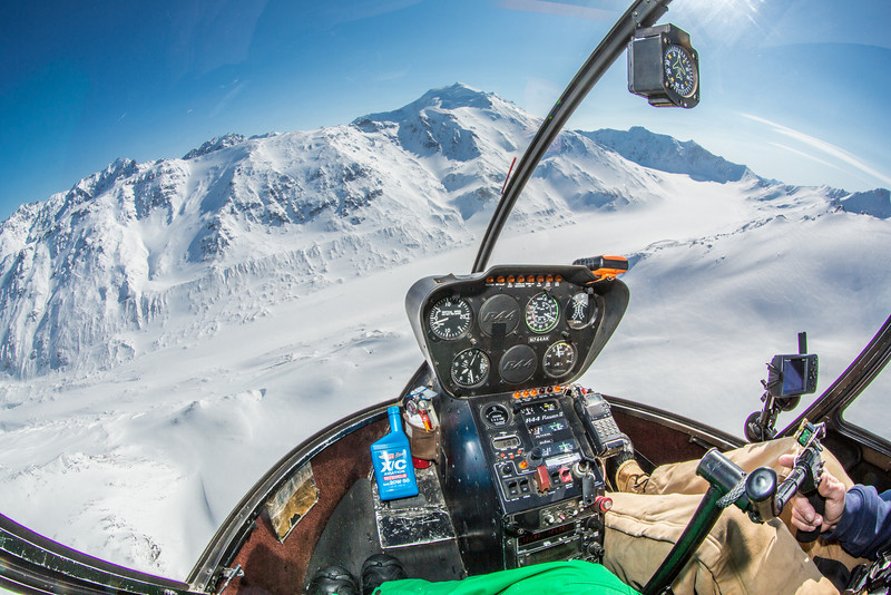 """A helicopter is used to access research sites on the Jarvis Glacier, about 35 miles south of Delta Junction. A UAF team is nvestigating future flow in rivers coming directly from glaciers, as bridges and road networks can be affected by varying water levels.  <div class=""""ss-paypal-button"""">Filename: AAR-13-3795-65.jpg</div><div class=""""ss-paypal-button-end"""" style=""""""""></div>"""