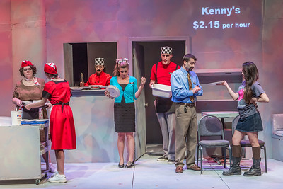 "Cast members rehearse a scene from Theatre UAF's  production of ""Nickel and Dimed"" in the Salisbury Theatre.  Filename: AAR-13-3974-35.jpg"