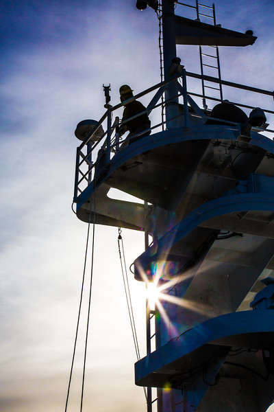 """An employee at the Marinette Marine Corporation works in the crowsnest the day before the launch of the R/V Sikuliaq Oct. 12.  <div class=""""ss-paypal-button"""">Filename: AAR-12-3592-111.jpg</div><div class=""""ss-paypal-button-end"""" style=""""""""></div>"""