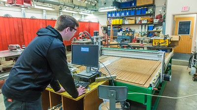 Local high school student Max Bennett works on a project in the vocational technical lab at UAF's Bristol Bay Campus in Dillingham.  Filename: AAR-16-4860-367.jpg
