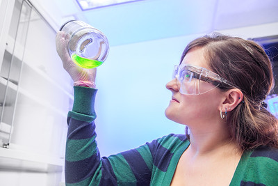 Chemistry major Emily Olson completes a procedure in a Reichardt Building lab.  Filename: AAR-12-3598-161.jpg