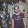 "Senior art major Joel Isaak stands next to life-sized bronze sculpture he made as part of his senior thesis project during its display in the Great Hall.  <div class=""ss-paypal-button"">Filename: AAR-12-3362-10.jpg</div><div class=""ss-paypal-button-end"" style=""""></div>"