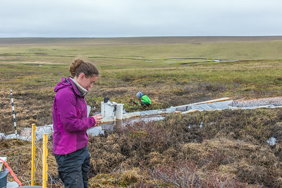 Ludda Ludwig, a Ph.D. candidate with UAF's College of Natural Science and Mathematics, collects water samples from a research site near the headwaters of the Kuparuk River on Alaska's North Slope.  Filename: AAR-14-4217-090.jpg