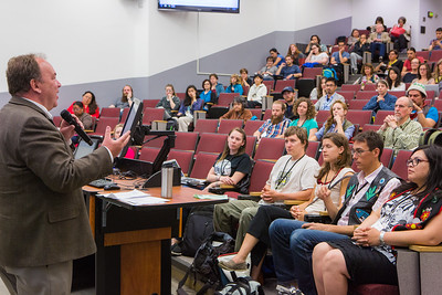 UAF Interim Chancellor Mike Powers welcomes the 2016 Collaborative Language Research conference at the Schaible Auditorium on the Fairbanks campus.  Filename: AAR-16-4919-48.jpg