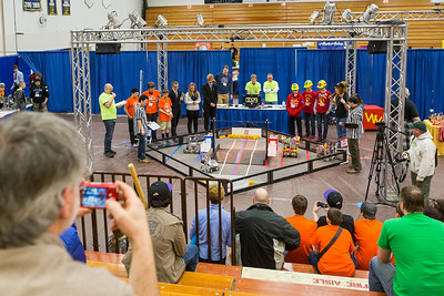High school students from throughout Alaska squared off in the Patty Gym in February for an annual robotics competition.  Filename: AAR-14-4110-19.jpg
