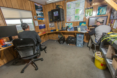 Research technicians Jorge Noguera and Randy Fulweber support research efforts at IAB's Toolik Field Station in the GPS unit.  Filename: AAR-14-4216-050.jpg