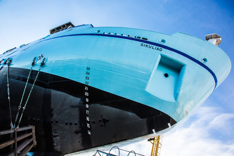 """The R/V Sikuliaq sits on the pad at Marinette Marine Corporation in Marinette, Wisc., a day before it's official launch.  <div class=""""ss-paypal-button"""">Filename: AAR-12-3592-23.jpg</div><div class=""""ss-paypal-button-end"""" style=""""""""></div>"""
