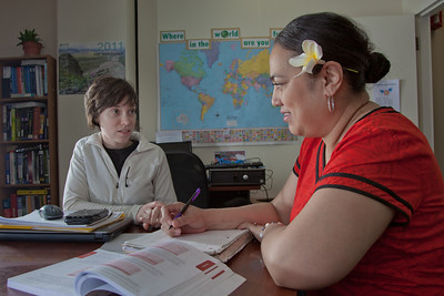 Ginny Redmond, left, director of UAF's Student Support Services, works with Kaneyo Hirata during a tutoring session in their Gruening Building office.  Filename: AAR-12-3285-090.jpg