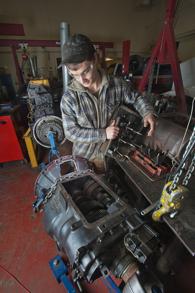"George Jensen disassembles a transmission in the diesel mechanics lab at the Hutchison Institute of Technology.  <div class=""ss-paypal-button"">Filename: AAR-12-3312-059.jpg</div><div class=""ss-paypal-button-end"" style=""""></div>"