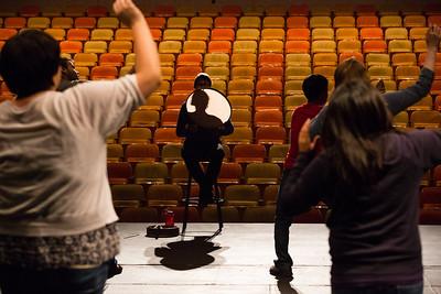Alaska Native Dance Instructor Naaqtuuq Dommek leads RAHI students during class.  Filename: AAR-12-3452-16.jpg