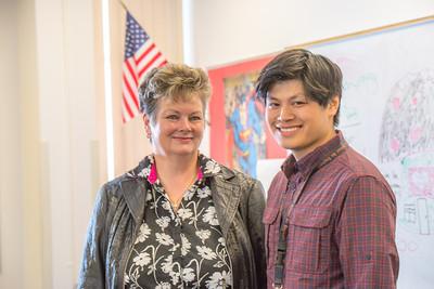 Associate Professor Ute Kaden meets with education major Bennett Wong during Bennett's internship at Tanana Middle School during the spring 2015 semester.  Filename: AAR-15-4531-22.jpg