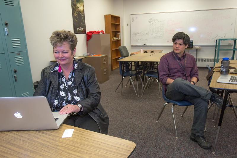 "Associate Professor Ute Kaden meets with education major Bennett Wong during Bennett's internship at Tanana Middle School during the spring 2015 semester.  <div class=""ss-paypal-button"">Filename: AAR-15-4531-58.jpg</div><div class=""ss-paypal-button-end""></div>"