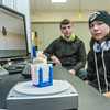 "Dillingham High School students Max Bennett, left, and Jolin Kapotak use a 3-D scanner to record bones of a fetus taken from the womb of a pregnant Orca that washed ashore near Dillingham in Alaska's Bristol Bay a few years ago. The students have been earning high school credit through a cooperative agreement with UAF's Bristol Bay Campus to scan the whale's bones with a 3-D scanner and recreate its skeleton using a 3-D printer.  <div class=""ss-paypal-button"">Filename: AAR-16-4860-393.jpg</div><div class=""ss-paypal-button-end""></div>"