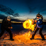 Research Associate Professor Katey Walter Anthony and a research assistant set fire to escaping methane gas trapped beneath the ice on a pond near the UAF campus. The naturally occurring phe ...