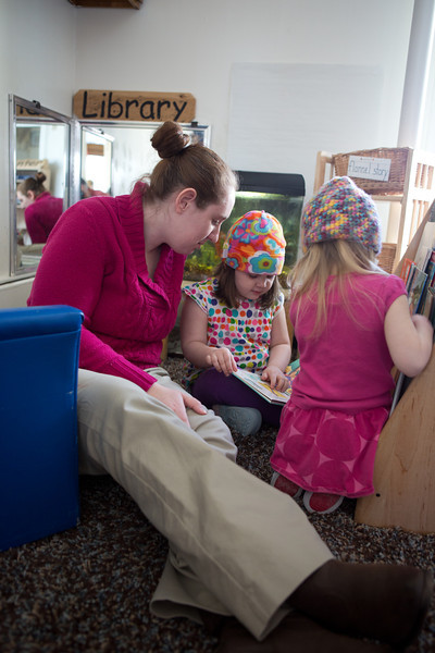 "Heather Pearce works with pre-schoolers at the Bunnell House on the UAF campus as part of her internship for a degree in early childhood development.  <div class=""ss-paypal-button"">Filename: AAR-12-3335-001.jpg</div><div class=""ss-paypal-button-end"" style=""""></div>"