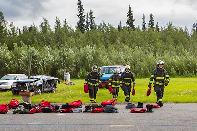 The CTC Summer Fire Academy is an intensive month-long training where students participate in classroom and hands-on learning to prepare them for the International Fire Service Accreditation Congress Firefighter I certificate.  Filename: AAR-16-4937-138.jpg