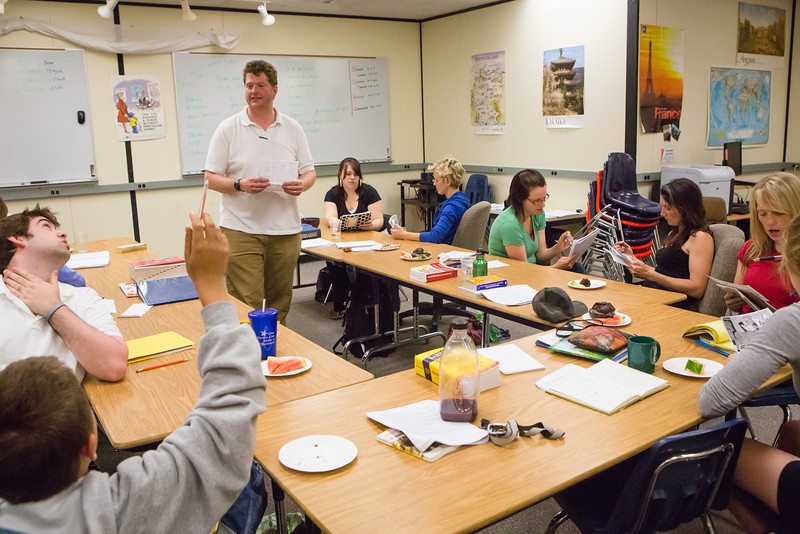 """Students converse in Spanish during the MAYmester class, Si Si! Summer Intensive Spanish Immersion at the Language Lab.  <div class=""""ss-paypal-button"""">Filename: AAR-12-3423-7.jpg</div><div class=""""ss-paypal-button-end"""" style=""""""""></div>"""