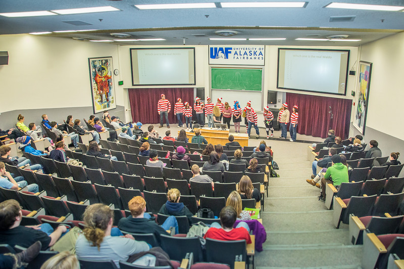 """Administrative staff with UAF's School of Management participated in a Where's Waldo exercise during a Political Economy class in Schaible Auditorium.  <div class=""""ss-paypal-button"""">Filename: AAR-12-3621-34.jpg</div><div class=""""ss-paypal-button-end"""" style=""""""""></div>"""