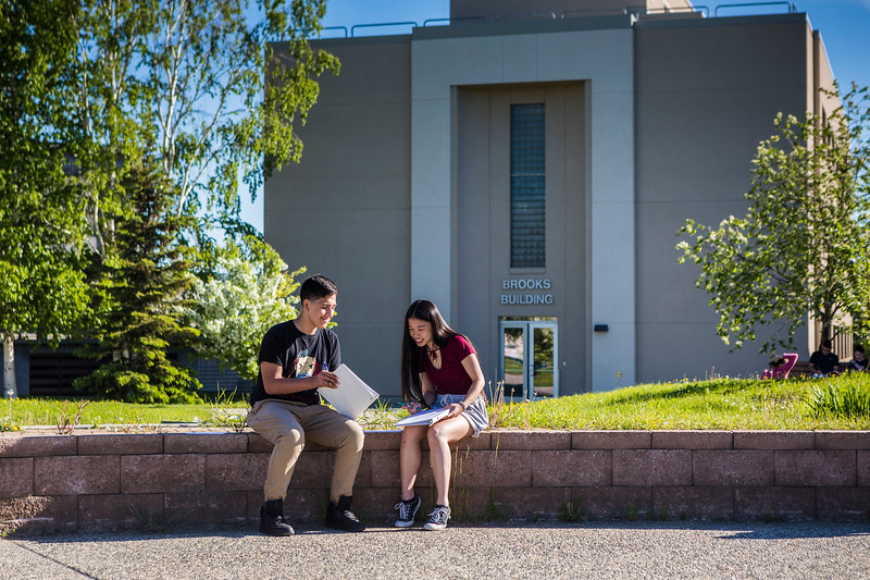 "Rural Alaska Honors Institute students study for their Introduction to College Writing course in Cornerstone Plaza on Friday, June 8.  <div class=""ss-paypal-button"">Filename: AAR-18-5817-3.jpg</div><div class=""ss-paypal-button-end""></div>"