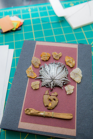 This is one of the completed projects in a custom book binding workshop offered by UAF Summer Sessions during Wintermester 2013.  Filename: AAR-13-3706-60.jpg