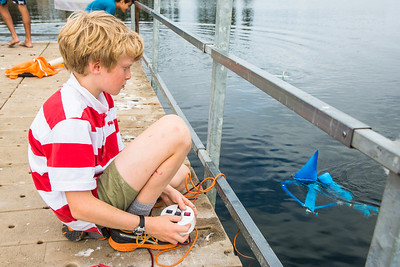 Alaska Summer Research Academy participants test their remotely operated underwater vehicles at the Chena Lake Recreation Area on Thursday, July 28.  Filename: AAR-16-4943-105.jpg