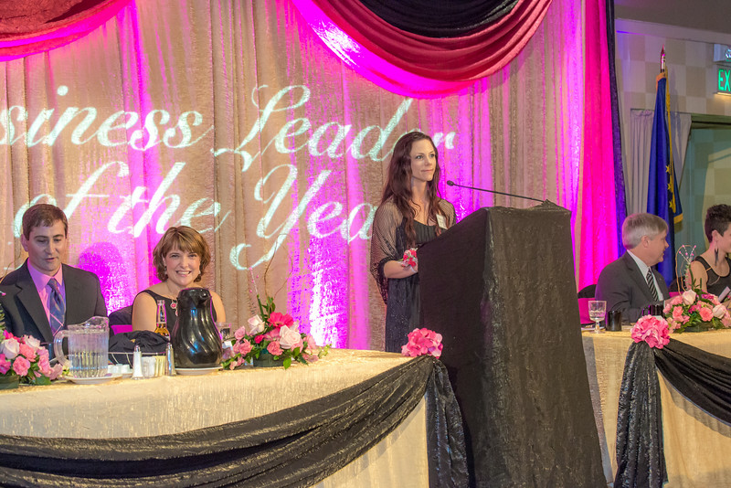 """Rebecca Leivdal, president of UAF's Associated Students of Business, addresses the audience during the annual SOM Business Leader of the Year banquet honoring this year's winner Lorna Shaw.  <div class=""""ss-paypal-button"""">Filename: AAR-14-4154-164.jpg</div><div class=""""ss-paypal-button-end""""></div>"""