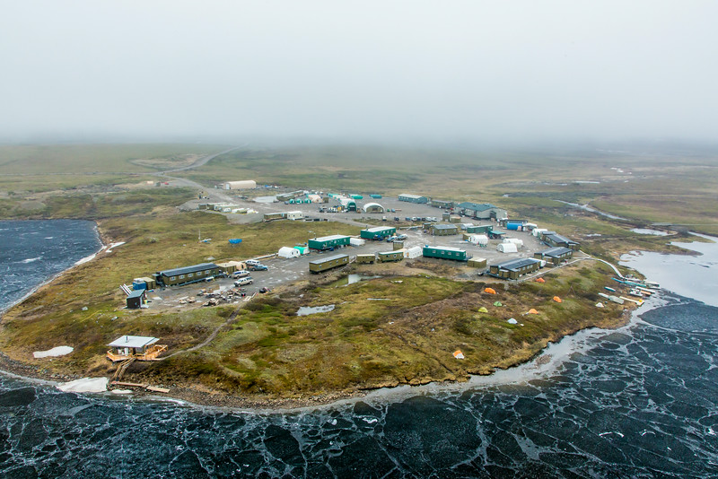 "An aerial view of the Toolik Field Station, about 370 miles north of Fairbanks on Alaska's North Slope . The camp is operated by UAF's Institute of Arctic Biology and hosts scientists from around the world for a variety of arctic-based research efforts.  <div class=""ss-paypal-button"">Filename: AAR-14-4216-248.jpg</div><div class=""ss-paypal-button-end""></div>"