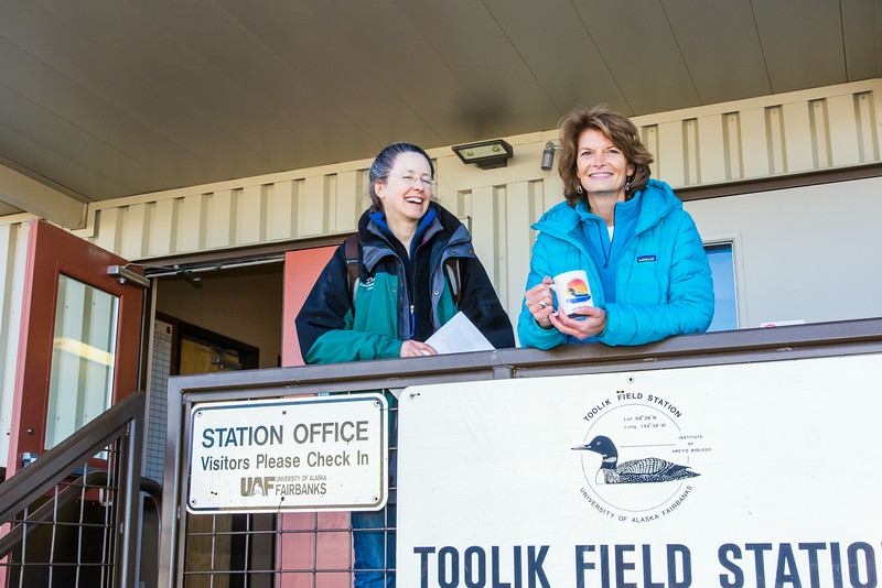 """During a brief visit to UAF's Toolik Field Station in Sept., 2013, U.S. Senator Lisa Murkowski, right, poses with Toolik associate science director Donie Bret-Harte.  <div class=""""ss-paypal-button"""">Filename: AAR-13-3929-415.jpg</div><div class=""""ss-paypal-button-end""""></div>"""