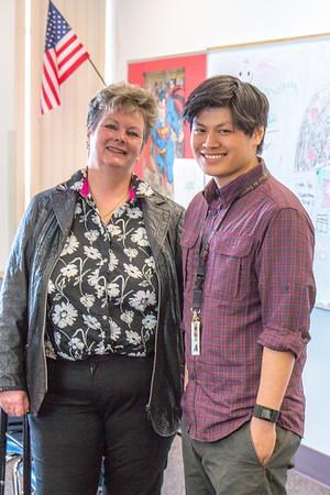 Associate Professor Ute Kaden meets with education major Bennett Wong during Bennett's internship at Tanana Middle School during the spring 2015 semester.  Filename: AAR-15-4531-26.jpg