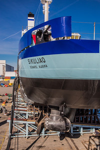 The R/V Sikuliaq sits on the pad at Marinette Marine Corporation in Marinette, Wisc., a day before it's official launch.  Filename: AAR-12-3592-150.jpg