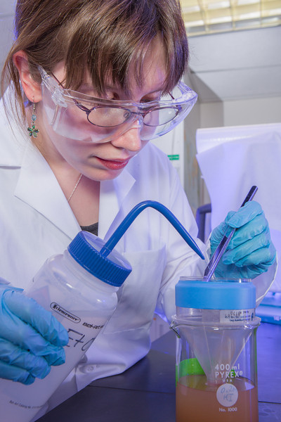 """Kjersten Williams completes a procedure in a Reichardt Building chemstry lab.  <div class=""""ss-paypal-button"""">Filename: AAR-12-3598-085.jpg</div><div class=""""ss-paypal-button-end"""" style=""""""""></div>"""