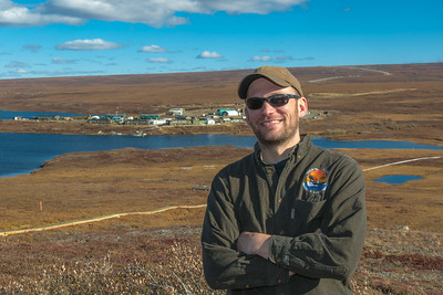 Brett Biebuyck, assistant operations supervisor at UAF's Toolik Field Station, poses on the hill behind the research site, located about 330 miles north of Fairbanks on Alaska's North Slope.  Filename: AAR-13-3929-350.jpg