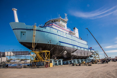 The R/V Sikuliaq sits on the pad at Marinette Marine Corporation in Marinette, Wisc., a day before it's official launch.  Filename: AAR-12-3592-152.jpg